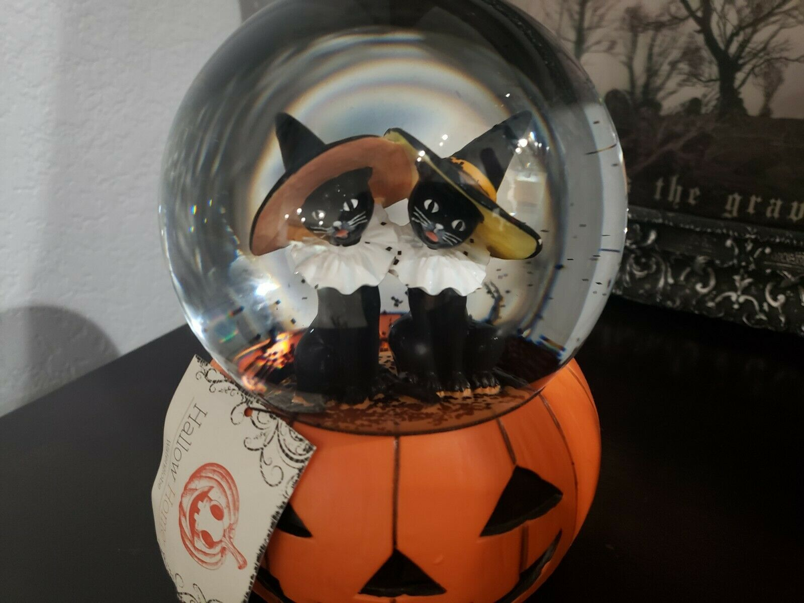 Primary image for Hallow HOme Halloween Black Cats Witch Water Globe Snow Globe Tabletop Decor
