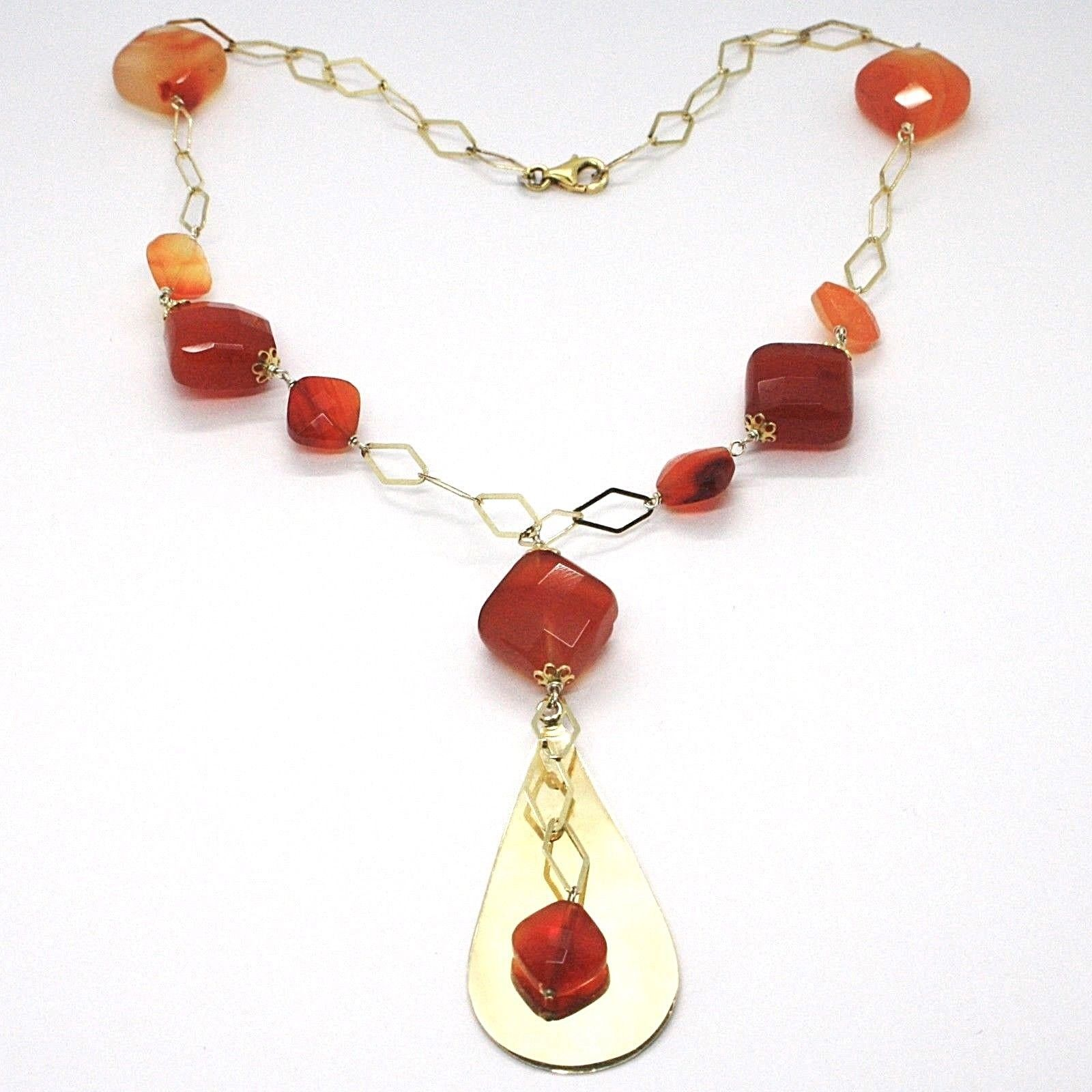 SILVER 925 NECKLACE, YELLOW, AGATE BROWN SQUARED, DROP PENDANT