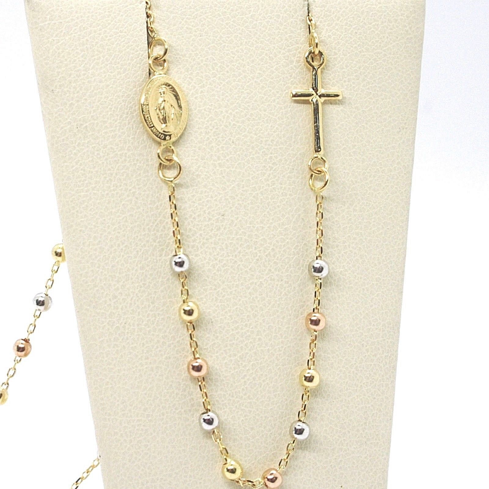18K YELLOW WHITE ROSE GOLD ROSARY NECKLACE MIRACULOUS MEDAL TUBE CROSS, ITALY