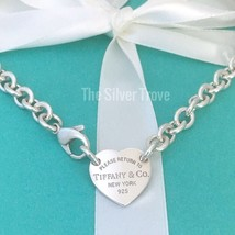 Please Return To Tiffany & Co Center Heart Tag Silver Choker Necklace - $289.00