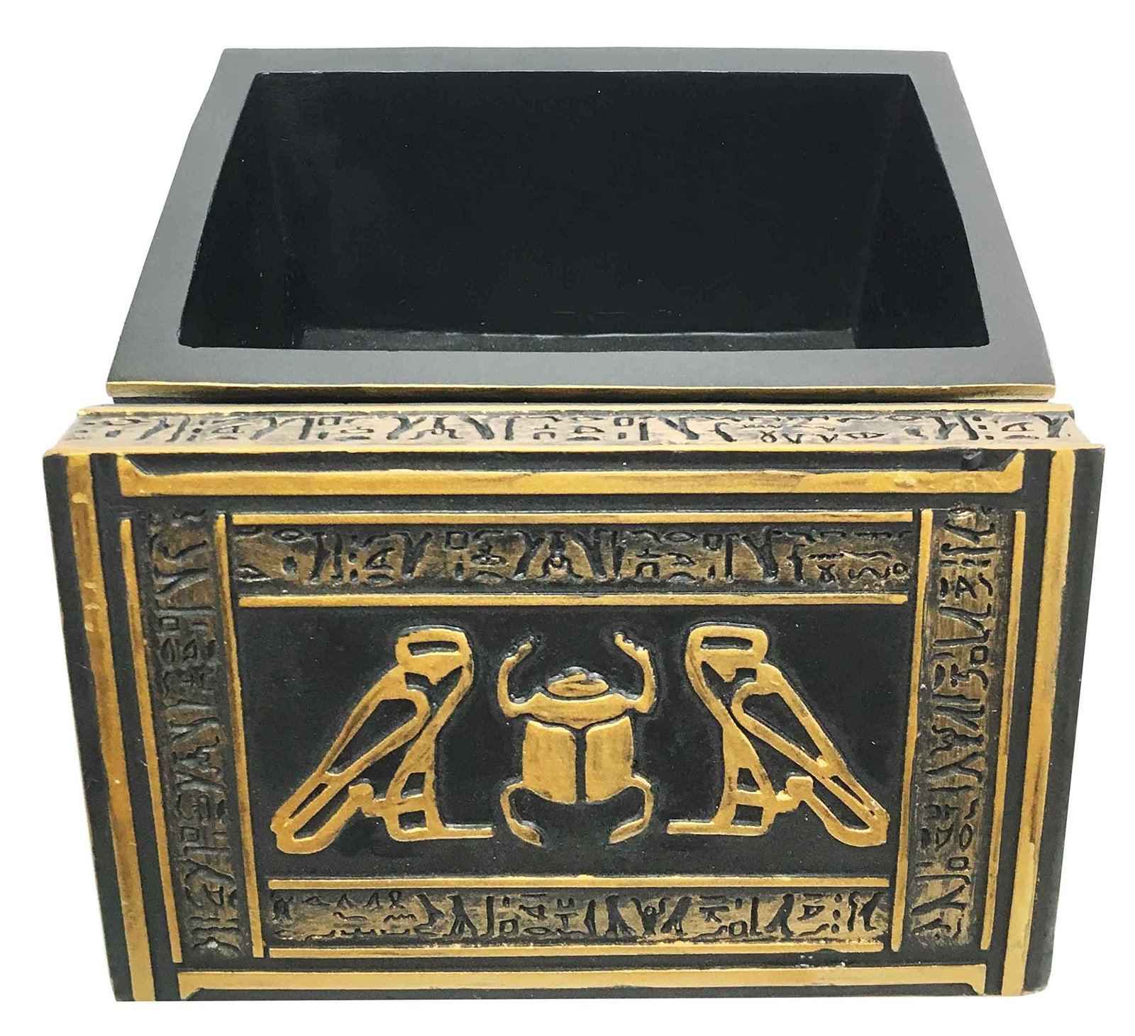 Ebros Ancient Gods Of Egypt Scarab With Twin Falcon Secret Jewelry Box Egyptian
