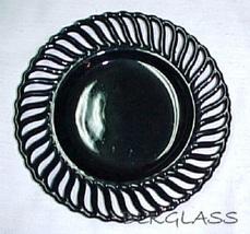 "Ebony Black Amethyst Glass 8""  Atterbury Border Plate Pinwheel Design - $25.98"