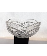 Glass Serving Bowl Vintage Clear Glass Fan Design with Saw Tooth Ribbon Rim - $19.99
