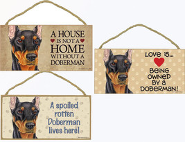 """Doberman Black Dog Sign Plaque 10""""x5"""" House not Home, Spoiled Lives Here... - $10.95"""
