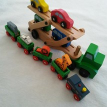 Melissa and Doug Wooden Car Carrier Truck & Cars And Magnetic Zoo Train/Animals - $14.99