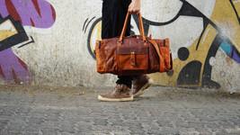 New Men's Genuine Vintage Rustic Soft Leather Yoga Travel Luggage Duffel... - $102.50