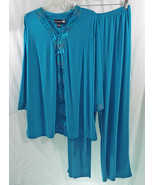 Anthony Originac Formal Pants Long Sleeve Shirt Set in Teal with Sequins - $128.69