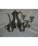 Vintage 5 Pc Coffee Set ATC Hanle  Debler Distinctive American Pewter Ca... - $94.05