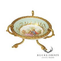 Sèvres Porcelain French Empire Compote on Gilded Bronze Footed Stand, Fr... - $495.00