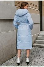 Women's New High Street Solid Hooded Full Length Quilted Parka Coat image 2