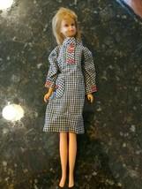 Francie Straight Leg 1966 Blonde Brown Eyed Barbie orig blush Checkered Dress - $122.21