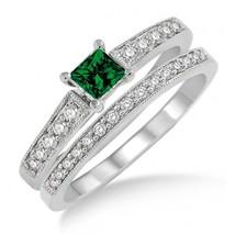 1.5 Carat Emerald & Sim Diamond Antique Flower Bridal Set on 14k White Gold Fn  - $99.99