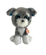 "TY Beanie Boos Whiskers 10"" Sparkle Eyes Gray Dog Puppy Plush Stuffed Animal - $9.89"