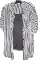 WOMEN'S SHADES OF GRAY BUTTON DOWN TWO LOOK TOP SIZE 18/20 - $12.00