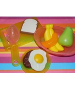 Play food for Kids Kitchen Breakfast Lot Cutting Board Dishes Fruit Egg ... - $10.88