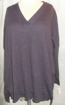 Style & Co. Tunic Sweater 2X Purple Hi-Low V-Neck Plus New - $12.85