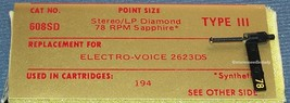 367-DS73 STEREO PHONOGRAPH RECORD NEEDLE for ELECTRO-VOICE EV 194  EV 2623DS image 2