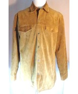 Perry Ellis Mens Lined Leather Jacket Size L Light Brown Snap Button Front - $40.01