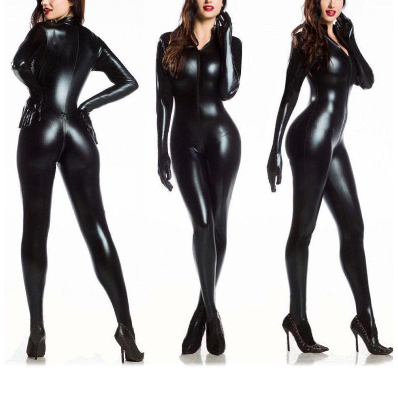 Latex Catsuit Open Bust&Crotchets Faux Leather Jumpsuit Bodysuit Fetish Gothic - $16.99 - $17.99