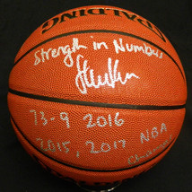 "Steve Kerr Signed Spalding NBA I/O Basketball w/ ""Strength In Numbers, 73-9 2016 - $275.00"