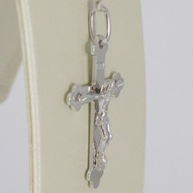 PENDENTIF CROIX OR BLANC 750 18K,TRILOBITE,AVEC LE CHRIST,SOLIDE,MADE IN ITALY image 2