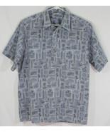 Go Barefoot Mens XL 1/4 Button Up Hawaiian Shirt Blue Gray Palm Trees Su... - $28.05