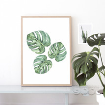 Jiubai-900d Watercolor Tropical Plant leaf Canvas Art Print - $17.95