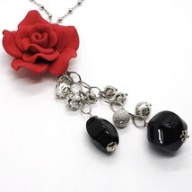 SILVER 925 NECKLACE, ONYX BLACK, PINK RED, FLOWER, CHAIN BALLS image 3
