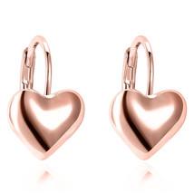 Women's Heart Dangle Earrings 18K Rose Gold Plated Gift Fashion Jewelry - $9.79