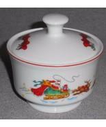 MACYS The Cellar SANTA SLEIGH PATTERN Sugar Bowl w/Lid HOLIDAY - CHRISTMAS - $14.84