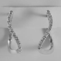 18K WHITE GOLD CIRCLE ONDULATE EARRINGS DIAMOND DIAMONDS 0.20 CT MADE IN ITALY image 1