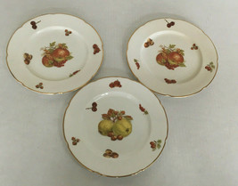vintage fine bone china royal grafton three dessert plate lot  harvest pattern  - $21.08