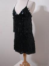 BCBG MAXAZRIA 2Pc Black Silk Sequin Fringed Top & Mini Skirt SEXY NWOT XS/8 - $179.99