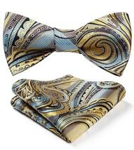 BIYINI Men's Paisley Floral Jacquard Woven Party Self Bow Tie Set Yellow / Blue - $24.12