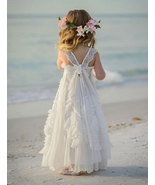 Cute White Flower Girl Dresses with Handmade Flowers - $79.99+