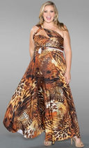 Sexy SWAK Designs Plus Eternity Wrap Party Maxi Dress Wild Animal Desert... - $88.90