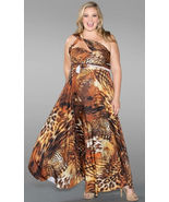 Sexy SWAK Designs Plus Eternity Wrap Party Maxi Dress Wild Animal Desert... - €74,32 EUR