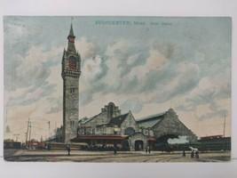 Worcester Union Station Postcard Railroad Station Depot  Massachusetts Kodak  - $25.18
