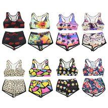 Womens Floral Bikini Set Crop Top High Waist Short Summer Bathing Suit Swimsuit image 4