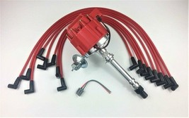 SBC CHEVY 283 350 HEI Distributor + RED 8mm SPARK PLUG WIRES UNDER THE EXHAUST