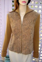 MYTHOLOGY Caramel Brown Cheetah Zip Front Sueded Leather Knit Sweater Ja... - $39.10