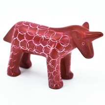 Vaneal Group Hand Carved Kisii Soapstone Red Unicorn Figurine Made in Kenya