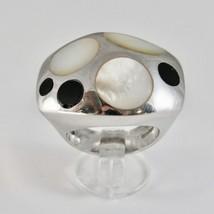 Ring aus Silber 925 Rhodium A Fscia mit Perlmutt Weiß und Politur Schwarz image 1