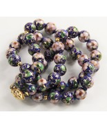ESTATE VINTAGE CHINESE EXPORT HAND KNOTTED BLUE CLOISONNE BEAD NECKLACE ... - $125.00