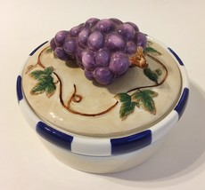 Grape Vine Trinket Jewelry Treasure Box Bowl Porcelain Leaves Bella Casa... - $22.00