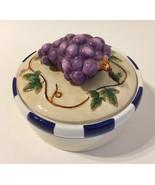 Grape Vine Trinket Jewelry Treasure Box Bowl Porcelain Leaves Bella Casa... - $22.00