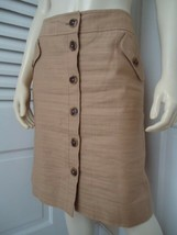 ANNE KLEIN Skirt 10 Cotton Linen Blend Straight Button Front Gold Sheen ... - $55.42