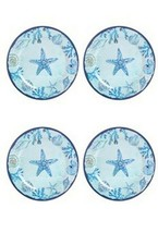 "Blue Starfish and Shells Melamine 10.5"" Dinner Plates Set of 4 - $39.48"