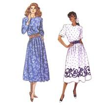 Vtg 80s Butterick 6100 Misses Dress Long Short Sleeve Round Neck 14-16-18 FF - $6.95