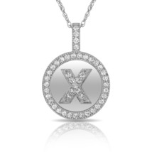 """14K Solid White Gold Round Circle Initial """"X"""" Letter Charm Pendant & Nec... - $30.99+"""